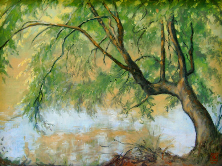 SOLD, The River Birch 12x16 by Rebecca King