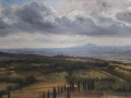 SOLD A View from the Hill near Lucignano Toscany Oil 12x14 by Rebecca King
