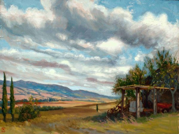 Tuscan Fram Shed, Original Oil Painting Art Rebecca King Hawkinson