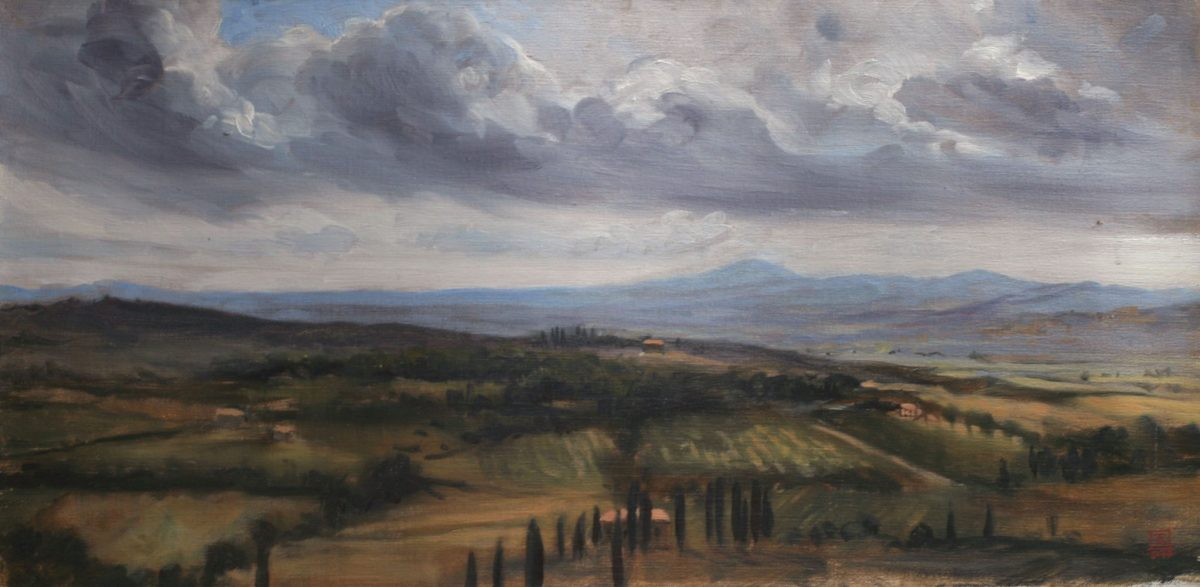 A View from the Hill near Lucignano Toscany 2006 Oil 12x24 by Rebecca King Hawkinson