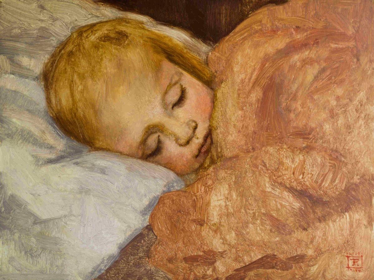 Commission a Portrait by American Artist Rebecca King Hawkinson Ayla Asleep Oil on Panel 8x10