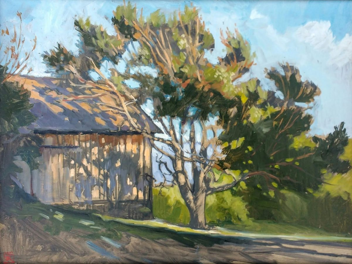 Oil Painting Weathered Barn, 12x16 Oil on Panel art Rebecca King Hawkinson