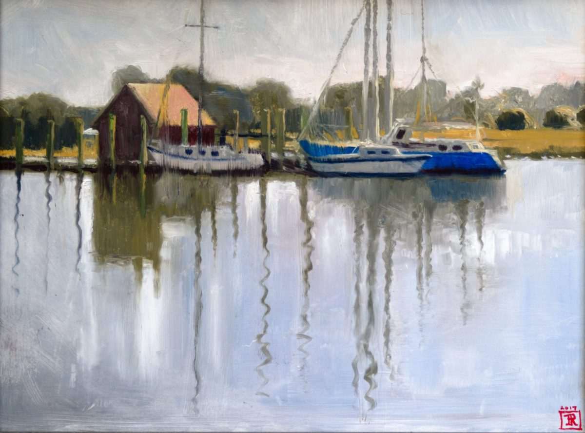 """Oil Painting of Boats """"Reflect"""" Rebecca King Hawkinson"""