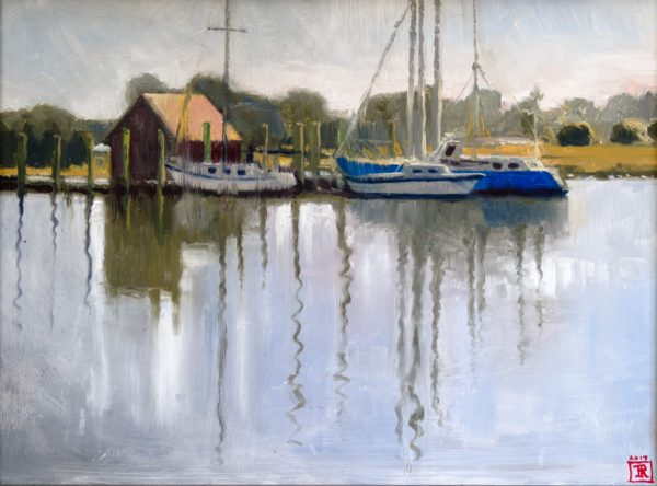 "Oil Painting of Boats ""Reflect"" Rebecca King Hawkinson"