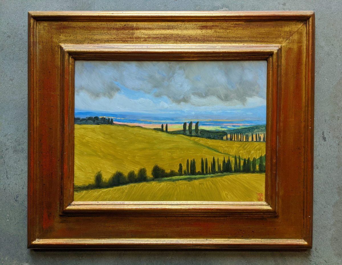 Golden Valley Val D'Orcia Oil Painting on Panel Artist Rebecca King Hawkinson