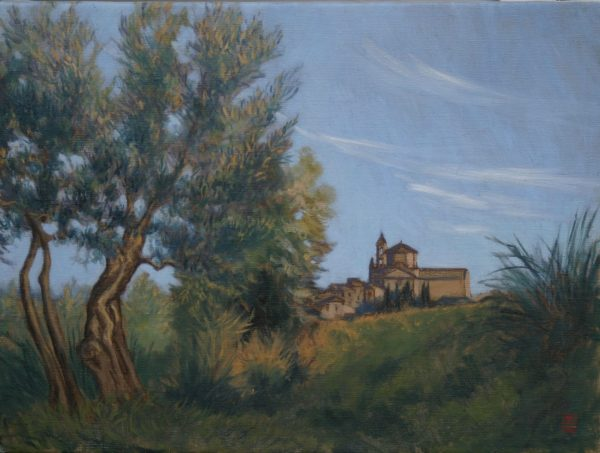In the Olive Grove, Lucignano 20x24 Rebecca King Hawkinson
