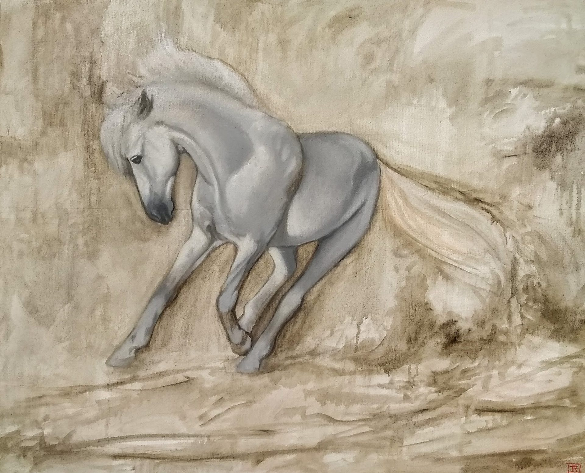Oil painting by Rebecca King Hawkinson of Horse entiltled