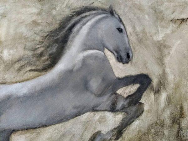Leap, White Horse Detail Rebecca King Hawkinson