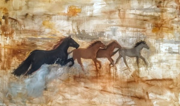 Herd Oil on Gallery Wrap Canvas 60x36 Rebecca King Hawkinson