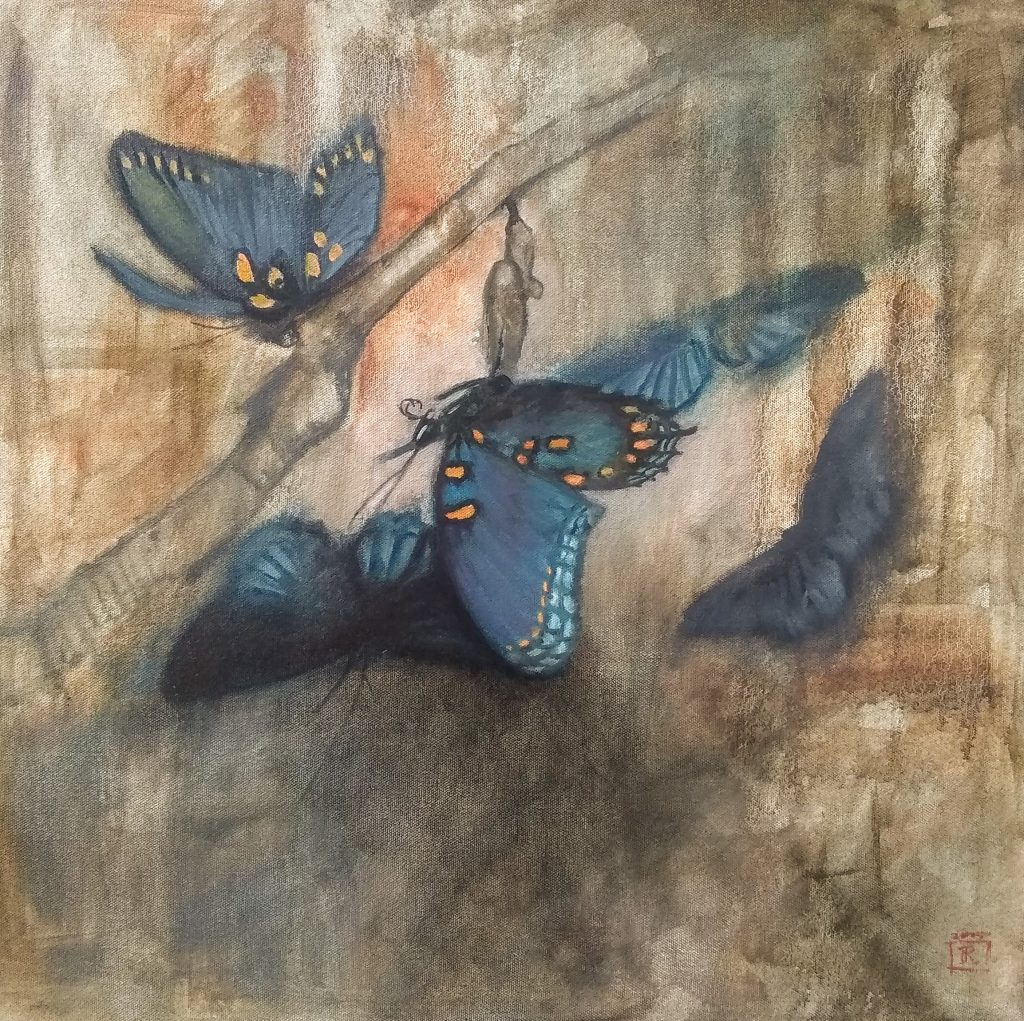 Red Spotted Purple 20x20 Oil on Gallery Wrap Canvas Rebecca King Hawkinson