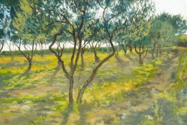 Shining Through Oil on Gessoed Panel 11.x17.5 Rebecca King Hawkinson
