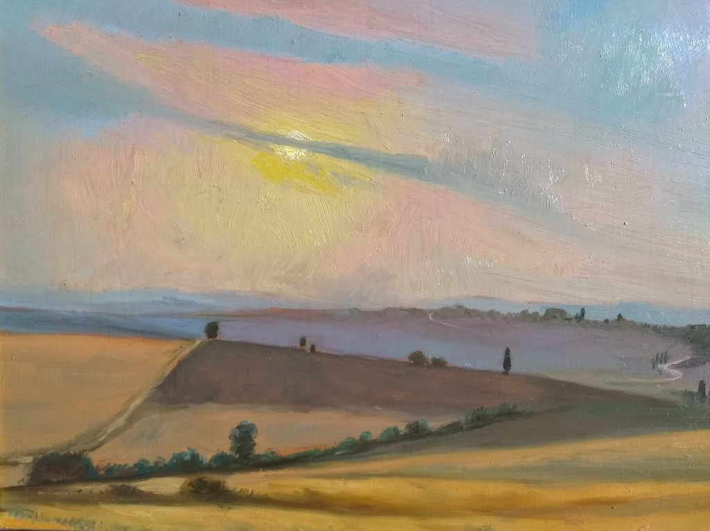 Sunset near Pienza Italy Oil on Panel 12x16 Rebecca King Hawkinson