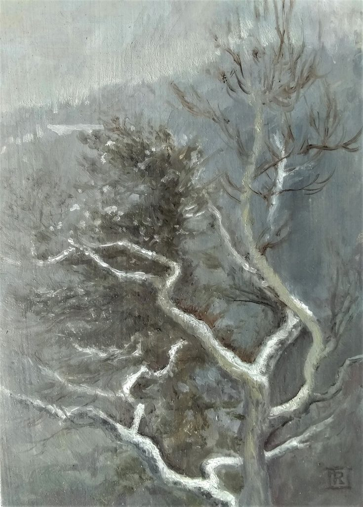 Snowy Branches Oil painting