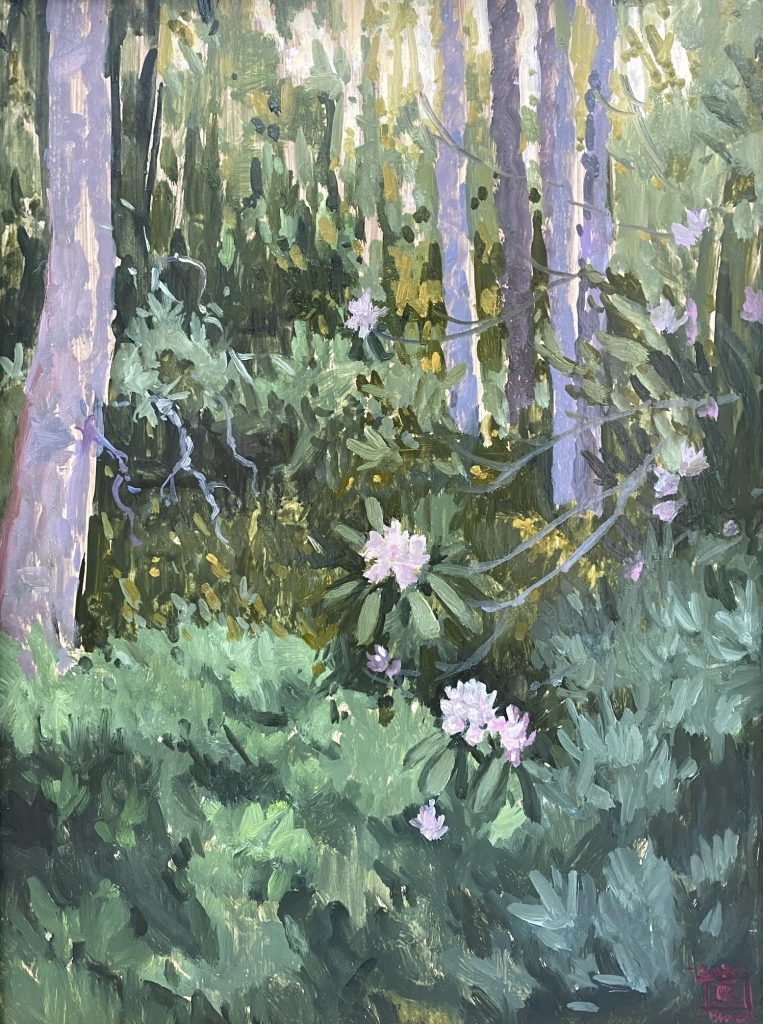 Oil painting Rhododendron Haven Rebecca King Hawkinson