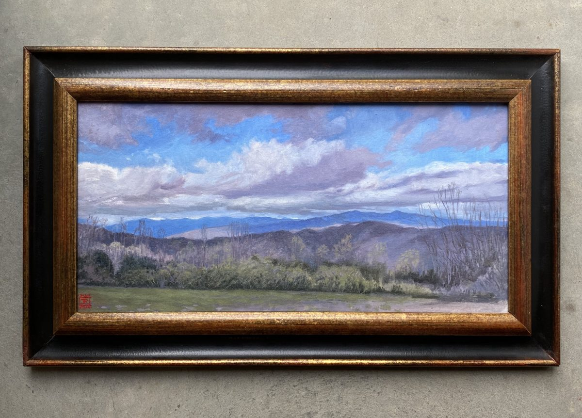 Looking North Blue Ridge Mountains Oil Painting Framed Oil on Canvas