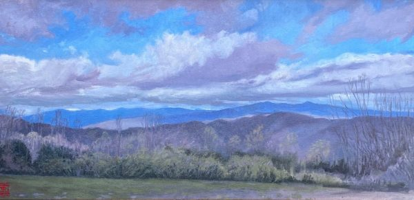 Looking North Oil on Canvas 12x24 Rebecca King Hawkinson