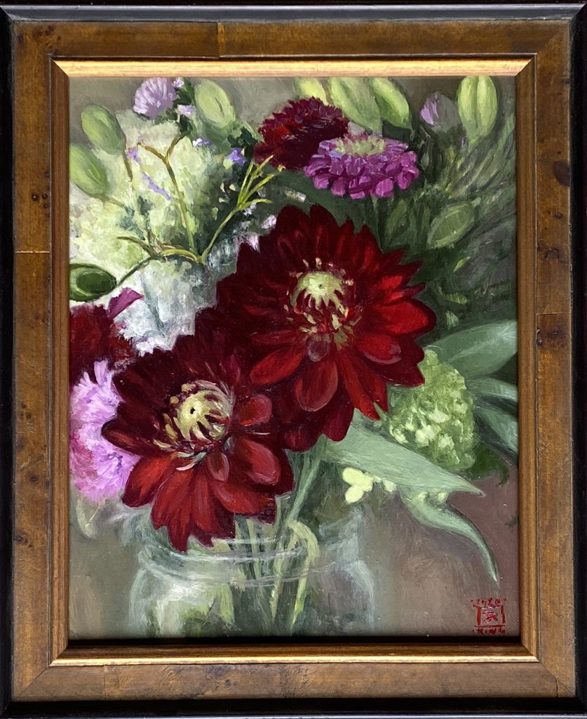 Red Dahlias Framed