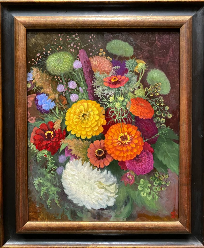 Floral Painting Zinnias Dahlias Arrangement in Red and Yellow Oil on Panel 16x20 Rebecca King Hawkinson
