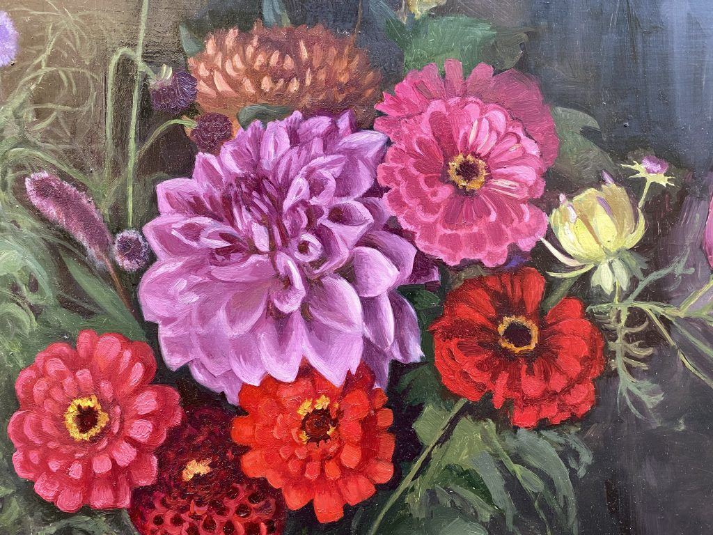 Floral Painting Dahlia Flowers Arrangement in Red and Violet