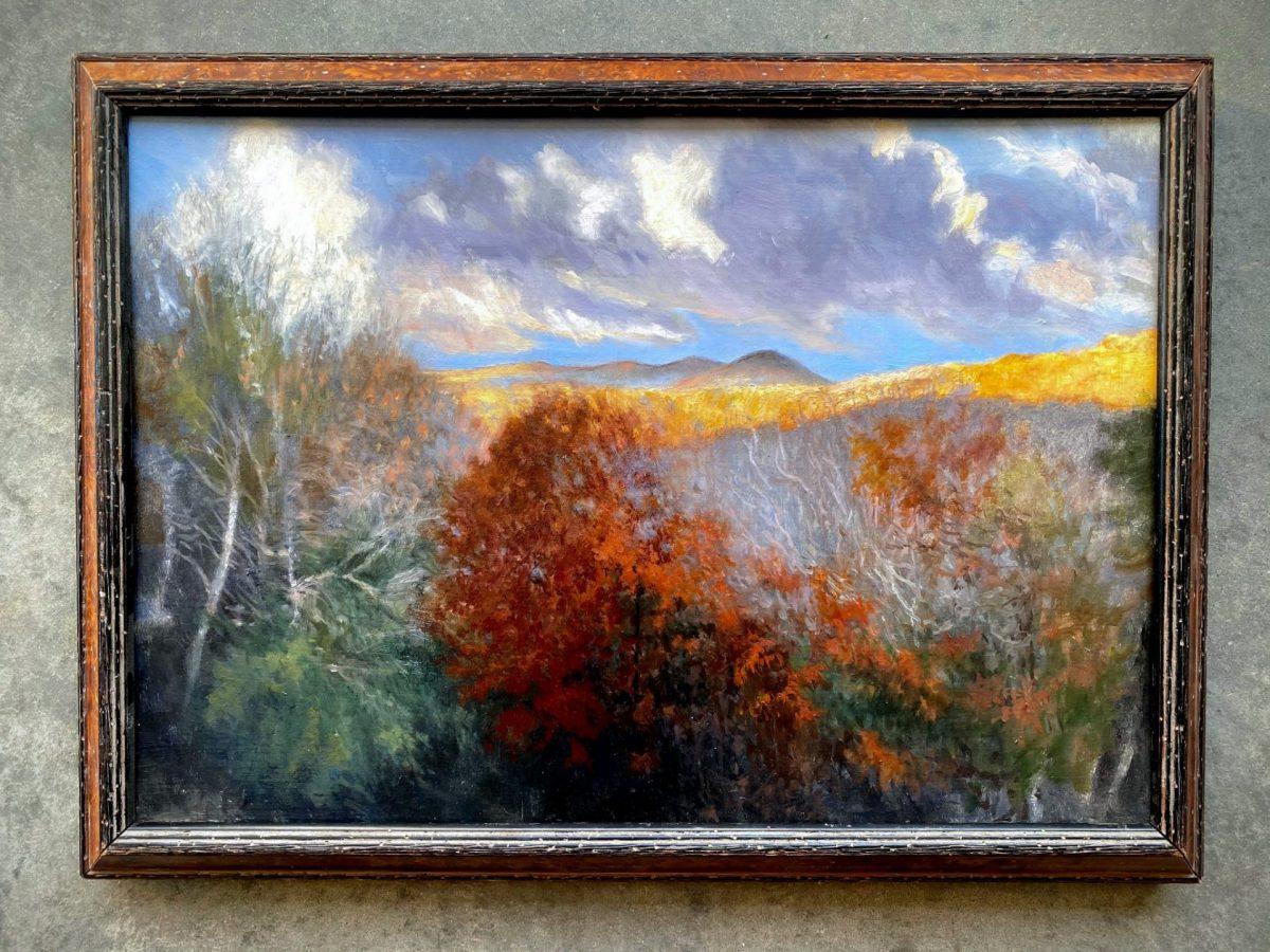 Golden Morning with Wood Burl Frame artist Rebecca King Hawkinson