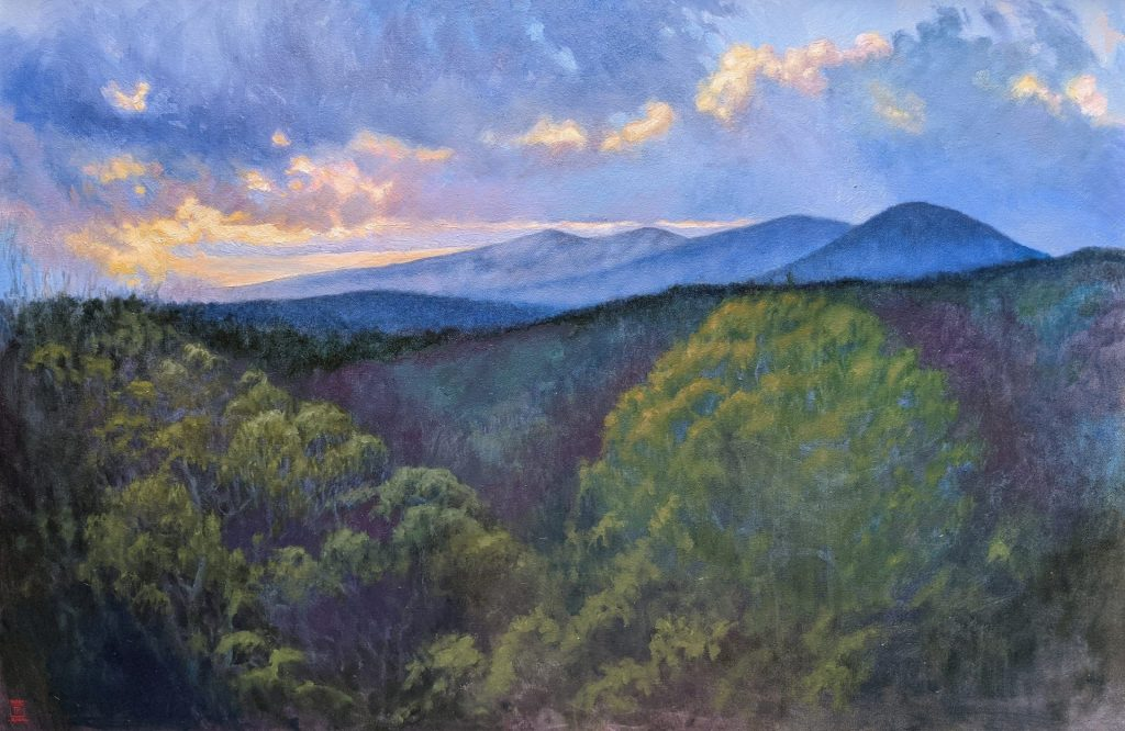 Blue Dusk Oil on Canvas 24x36 Artist Rebecca King Hawkinson