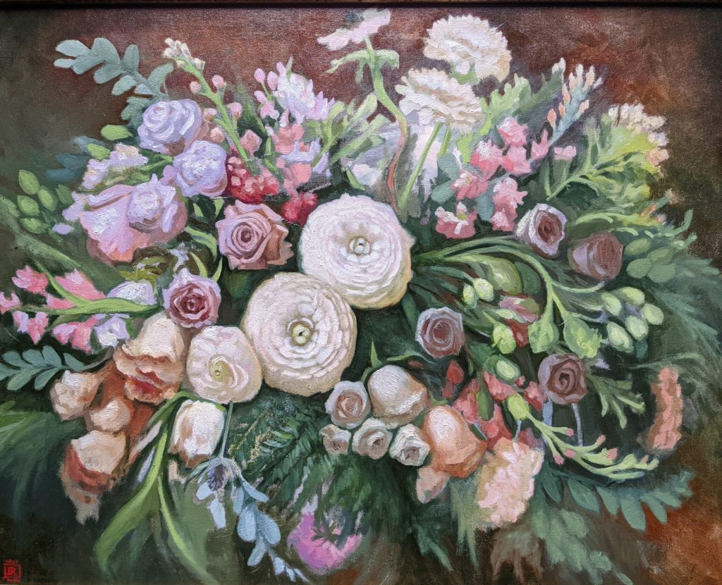 Arrangement in White Oil on Canvas 24x30 Artist Rebecca King Hawkinson $3600 sold