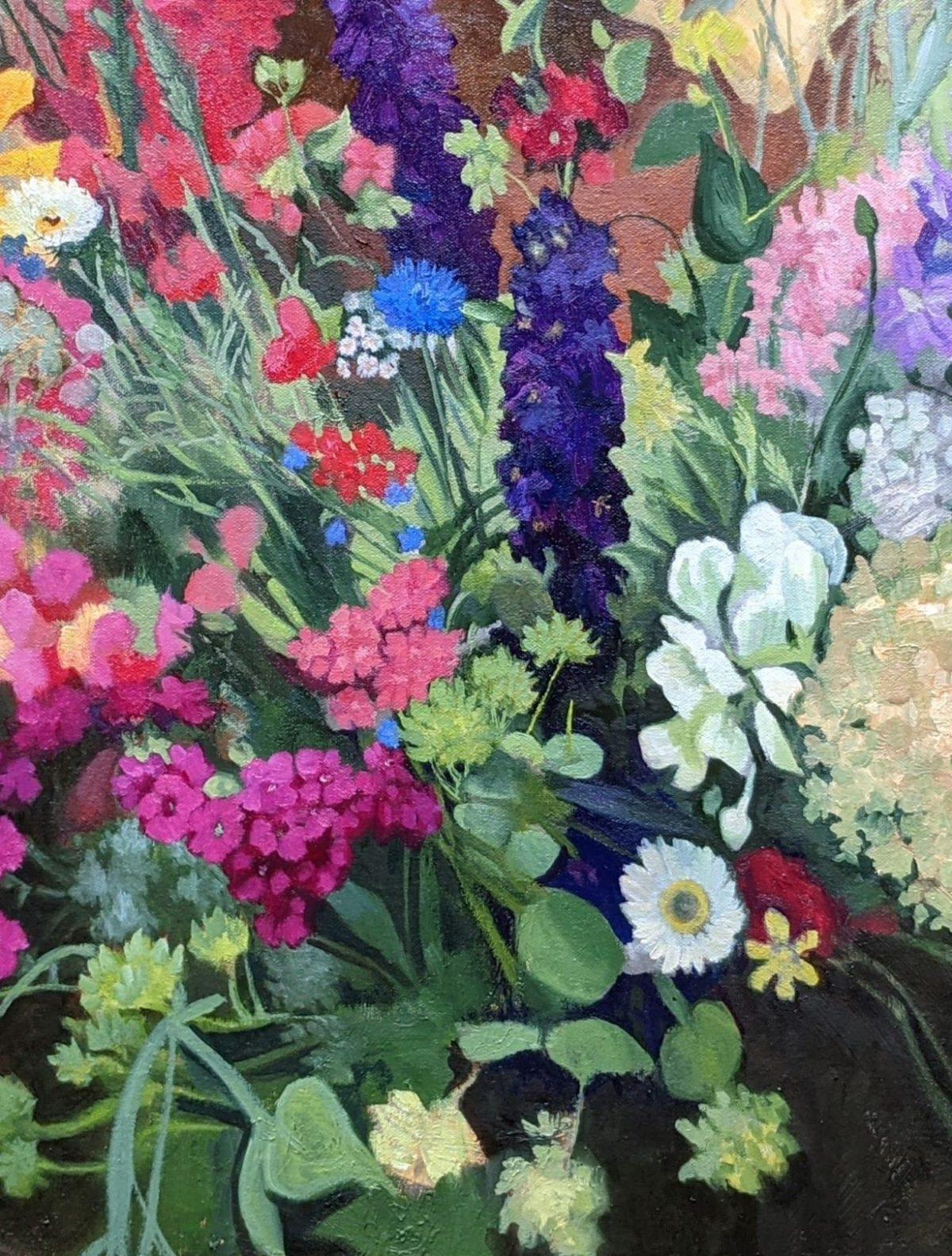 Delphinium and Hydrangea 24x30 Oil on Canvas