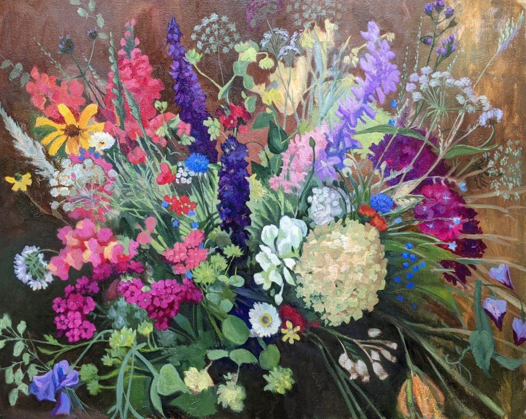 Delphinium and Hydrangea 24x30 Oil on Canvas Rebecca King Hawkinson $3600