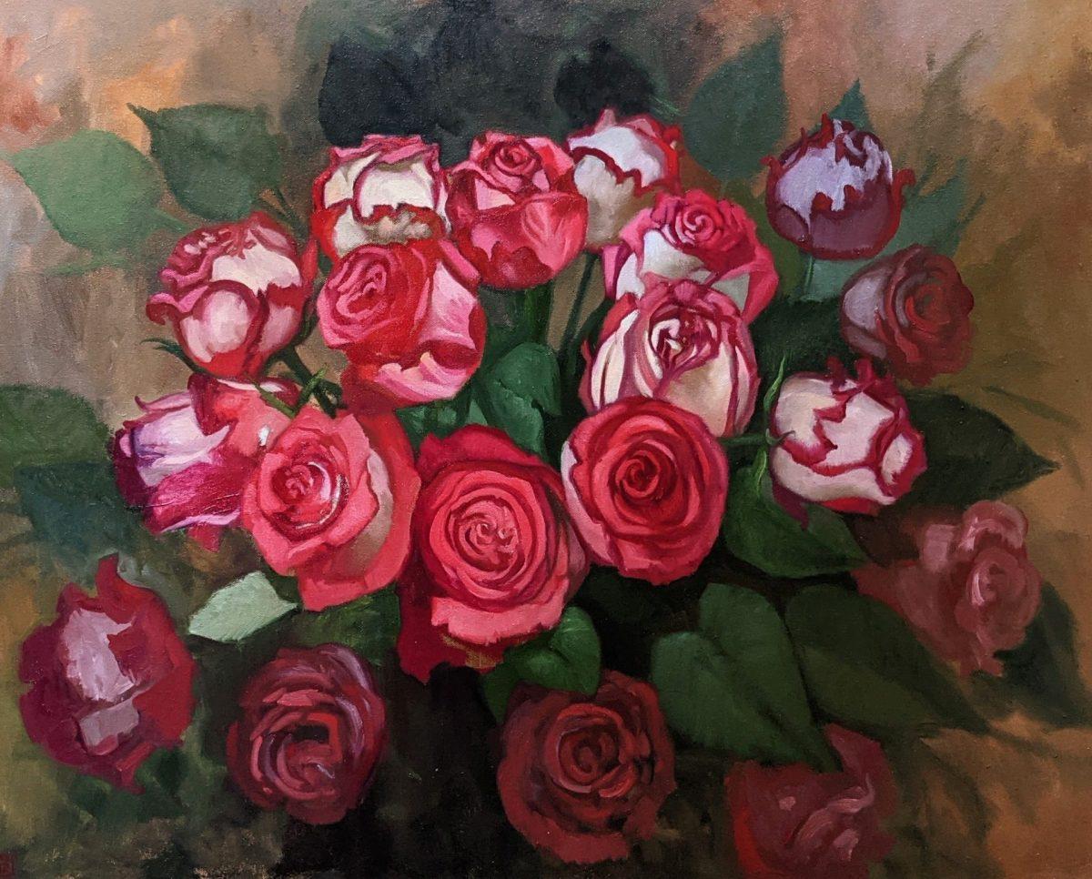 Enveloped in Red 24x30 Oil on Canvas artist Rebecca King Hawkinson