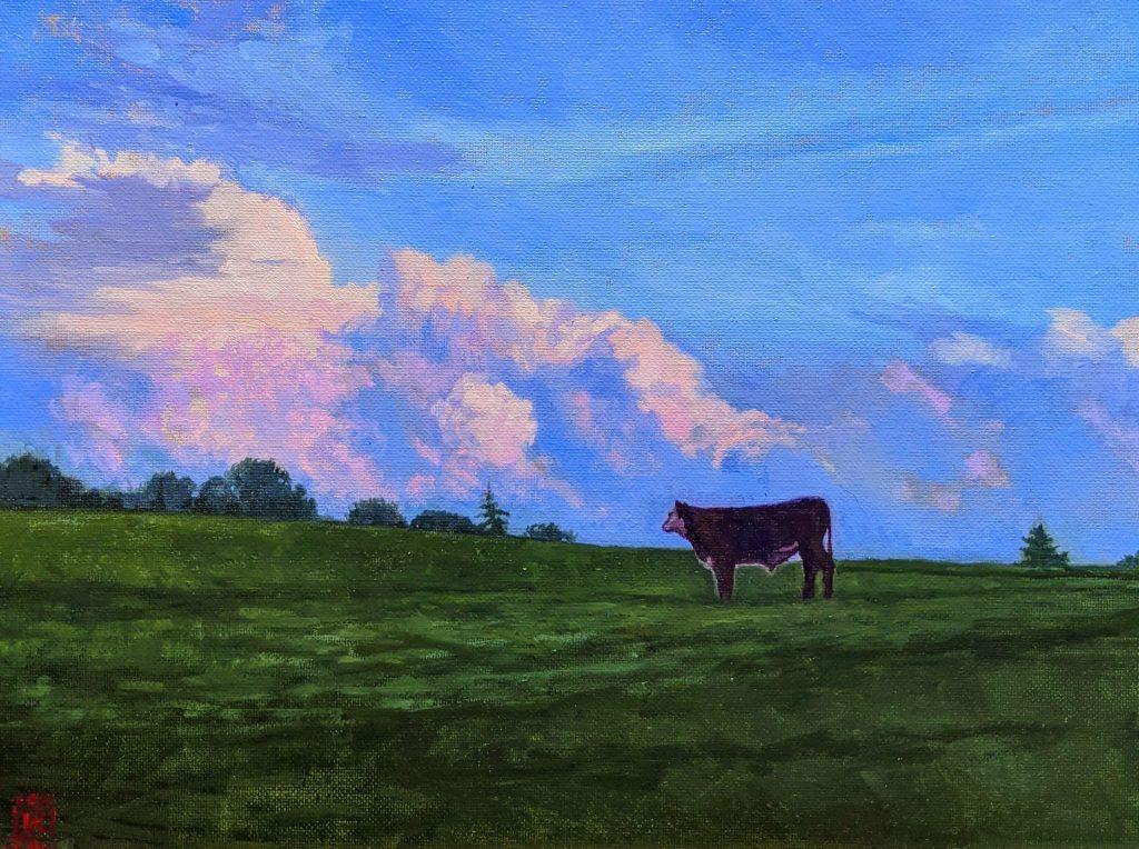Asheville Artist Rebecca King Hawkinson Appalachian Evening Oil on Panel